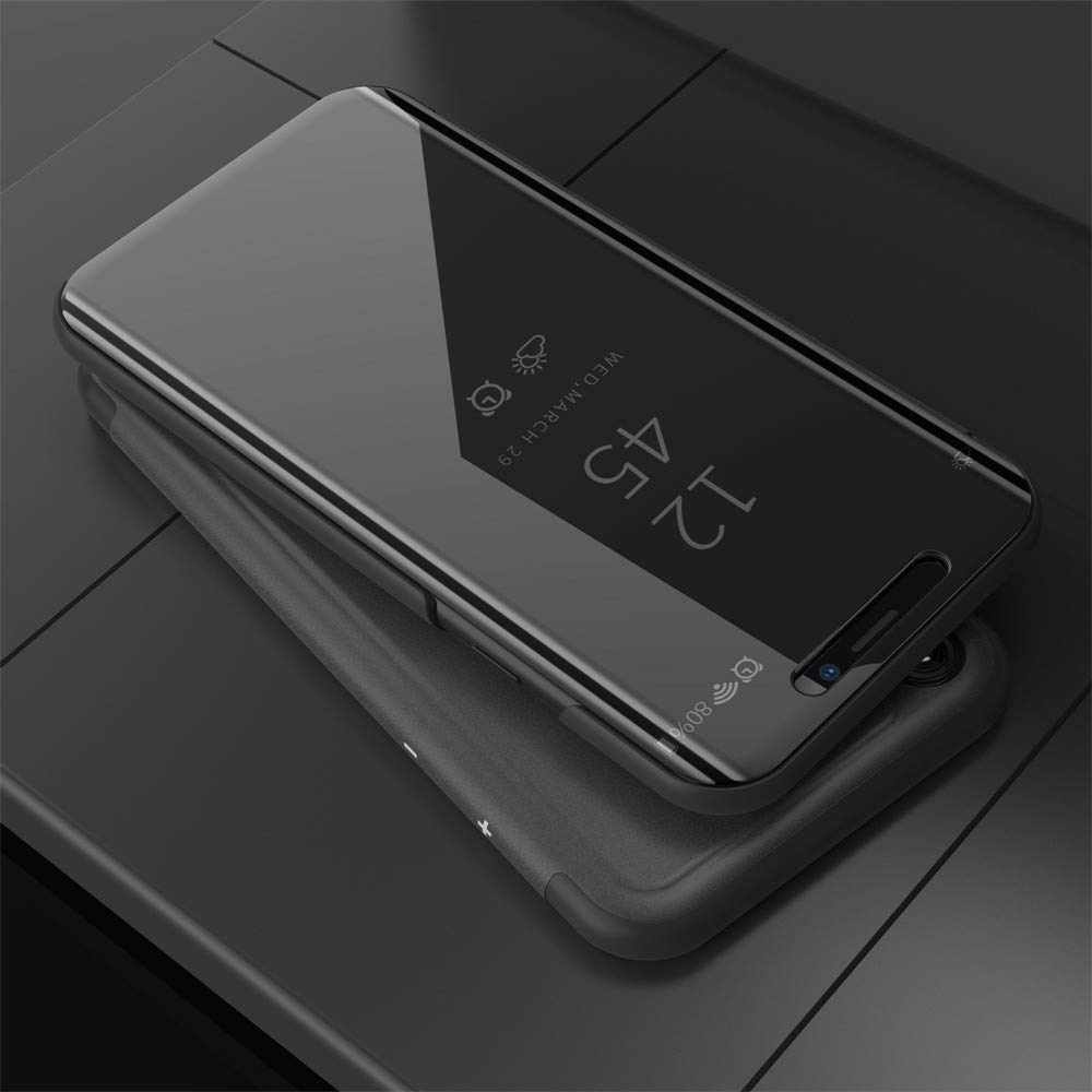 Huhu833 F/ür iPhone XS Max Luxus Smart Sleep Wake Up Clear View Spiegel Flip Leder St/änder Halter Apple Case Cover 6,5 Zoll