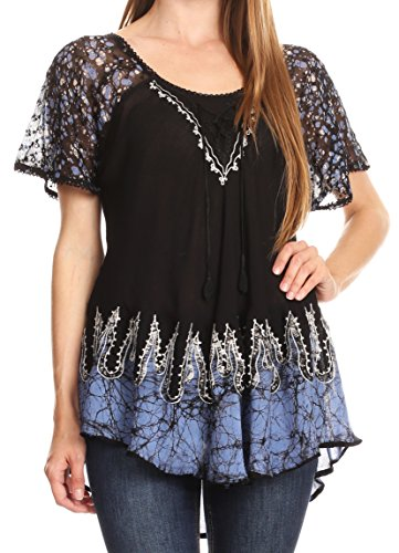 Sakkas 786 - Cora Relaxed Fit Batik Design Embroidery Cap Sleeves Blouse / Top - Black / Blue - OSP