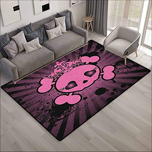 Large Area Rug,Skull Cute Skull Illustration with Crown Dark Grunge Style Teen Spooky Halloween Print,Anti-Static, Water-Repellent Rugs,6'6