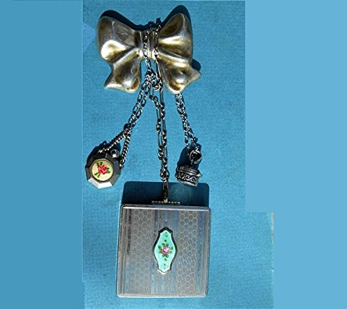(CHATELAINE Large Sterling Bow BROOCH w/ Guilloche Enamel Compact Chatelain Purse, Guilloche Perfume Chatelaine , 925 Poison/Pill Case Individually or all for $254.90 One of a Kind!)