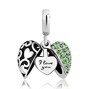 LovelyJewelry I Love You Charms Heart Charms Dangle Beads for Bracelets for Girlfriend (Green)