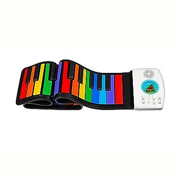 Pianos Teclados Silicona Enrollado a Mano Instrumentos Musicales de Arco Iris portátiles Plegables 49 Teclado Teclados electrónicos (Color : Rainbow Color): ...