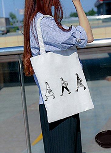 de Portátil Algodón Bolsa de 32CM de de para 40 de Bolso 3 la Leisial Blanca Bolsa Compra Lona de Mujer Viaje Grande Niña Hombro Bolso Chica RCw8IYx