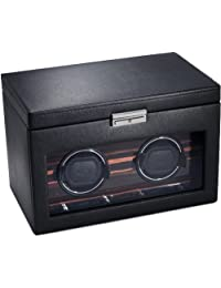 Wolf Designs 457256 Module 2.7 Roadster Double Watch Winder with Cover and Storage