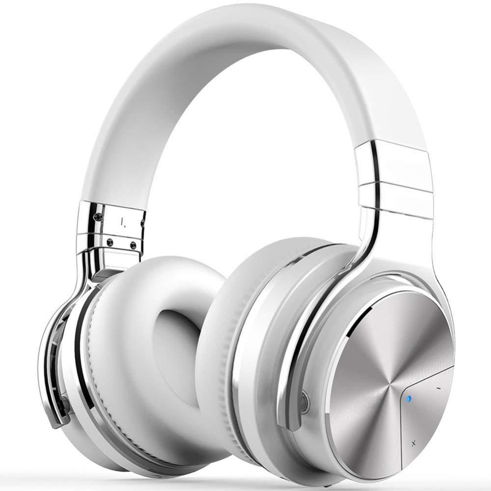 YANKAN ヘッドフォンアクティブノイズキャンセリングヘッドセットベースワイヤレスBluetoothヘッドマウントホワイト(約30時間) B07LGKN1FJ