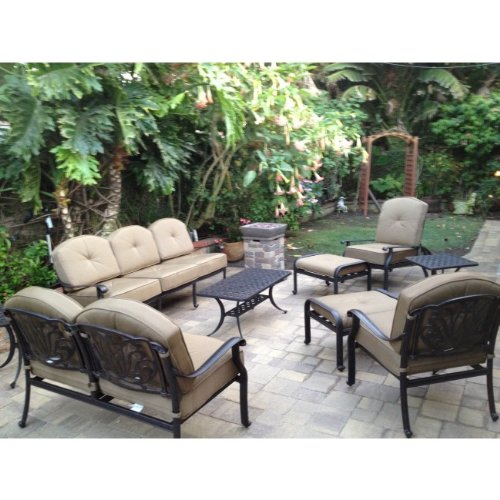 Heritage Outdoor Living Elisabeth Cast Aluminum 9pc Outdoor Patio Sofa Deep Seating Chat Set - Antique -