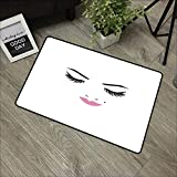 Bathroom anti-slip door mat W35 x L47 INCH Eyelash,Closed Eyes Pink Lipstick Glamor Makeup Cosmetics...