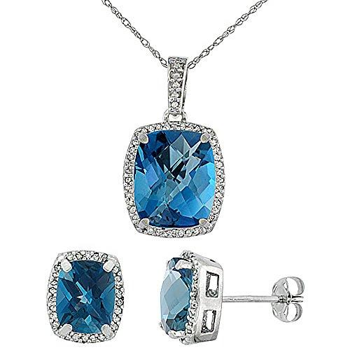 Or blanc 9Ct Topaze Bleu Londres octogone Coussin naturel Boucles d'oreilles et pendentif Set Accents de diamant