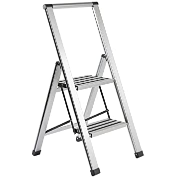 2 step rolling ladder with handrail lowes slimline