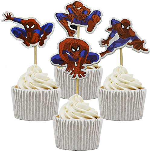 Betop House 24pcs Spiderman Themed Birthday Party Baby Shower Decorating Cake and Cupcake Toppers -