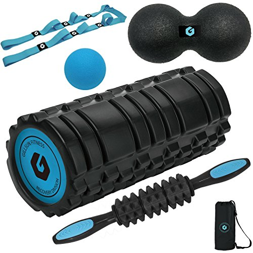 Foam Roller Set Includes High Density Foam Roller Muscle Roller StickStrap Lacrosse Ball and Medium Density Peanut Roller For Self Massage Yoga Crossfit and Mobilty WOD