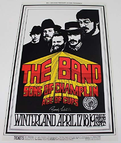 1969 The Band Concert Poster Randy Tuten Artist Signed Winterland San Fran BG169