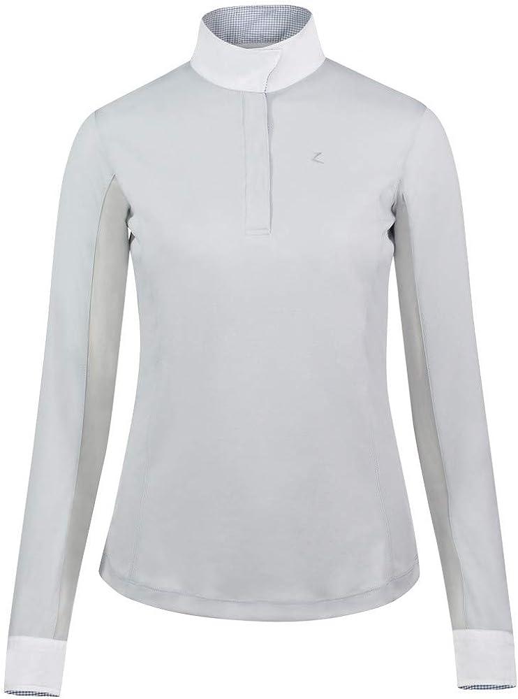 38 HORZE Blaire Womens Long-Sleeved Show Shirt Polar Gray