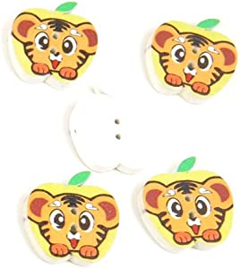 500 Pieces Sewing Sew On Buttons BT20224 Tiger Apple Shape Wooden Wood Arts Crafts Notions Supplies Fasteners