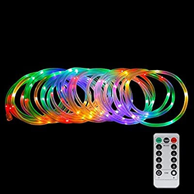 LE 33ft 120 LED Dimmable Rope Lights, Battery Powered, Waterproof, 8 Modes/Timer, Fairy Lights for Garden Patio Party Christmas Thanksgiving Outdoor Decoration