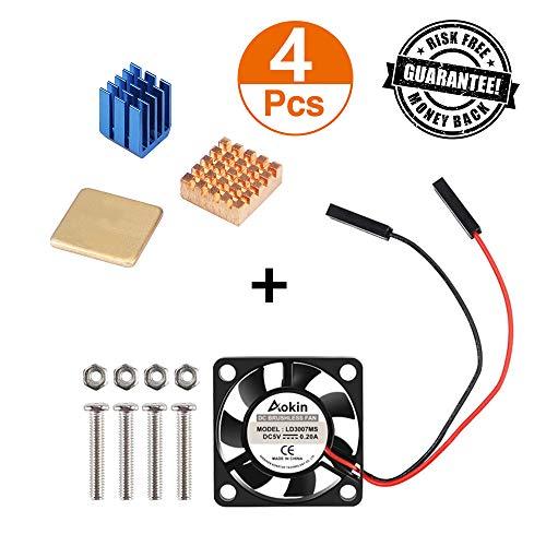 Raspberry Pi Kit, Aokin Raspberry Pi Cooling Fan 30x30x7mm Brushless CPU Cooling Fan and Raspberry Pi Heatsink Set 1 Aluminum + 2 Copper for Raspberry Pi 3 B+, Pi 3 B, Pi 2 B, RetroFlag NESPI Case