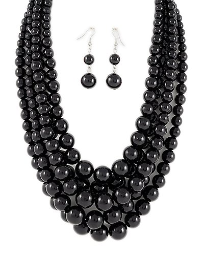 PammyJ Black Bead Multi Strand Graduated Necklace and Earrings Set