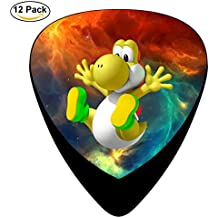 Yellow_Yoshi_Pounding Guitar Picks 12-Pack Celluloid Paddles Plectrums 0.46mm/ 0.71mm/ 0.96mm for Fashion Various Guitar Bass Musical Instruments