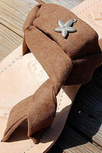SEESTERN Damen Leder Zehentrenner Zehensandale Zehensteg Sandalen in Größe 36-44 Cappuccino
