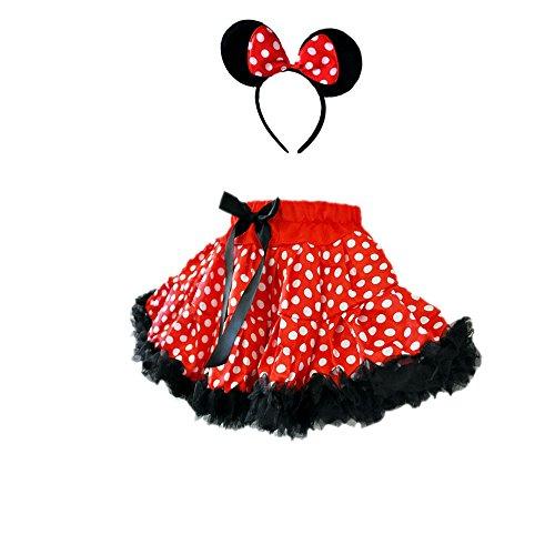 [Red/White Girl's Polka Dot Mouse Costumes 2 Layer Skirt & Headband Set (Medium-RB)] (Dance Dress Costumes Studio)