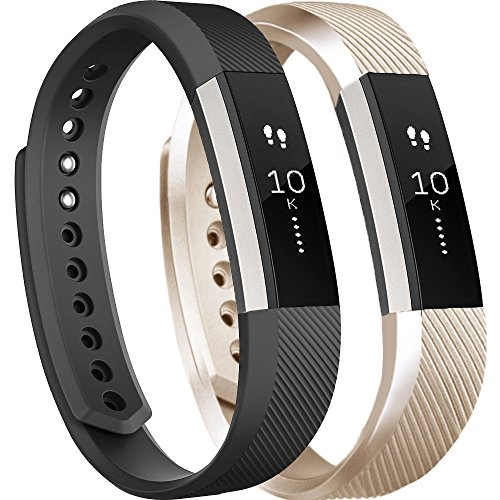Tobfit Replacement Bands Compatible for Fitbit Alta, Alta HR, Alta Ace Fitness Tracker Wristbands Small, Champagne Gold, Black