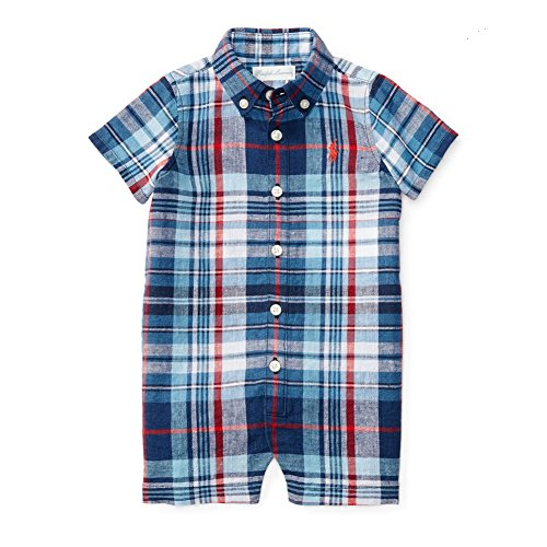Ralph Lauren Baby Boys' Plaid Linen-Cotton Shortall- Blue/Red Multi