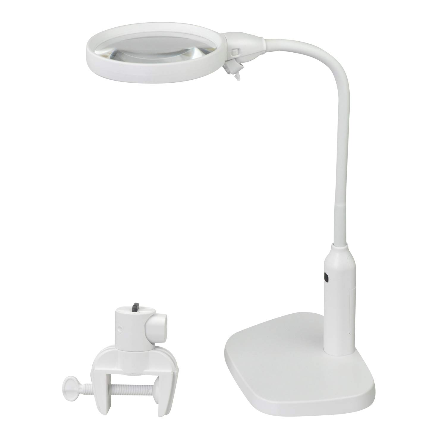 YOCTOSUN 2x 5x LED Magnifying Lamp – 2 in 1 Clip-on & Desktop Magnifying Glass with 6 Bright LED Lights and Flexible Gooseneck - Magnifying Glass with Light for Reading,Working and Hobby (USB Lighted)