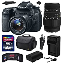 Canon EOS 70D Digital SLR Camera with 18-55mm STM and Sigma 70-300mm f/4-5.6 DG Macro Lens includes 16GB Memory + Large Case + Extra Battery + Travel Charger + Memory Card Wallet + Cleaning Kit (16GB