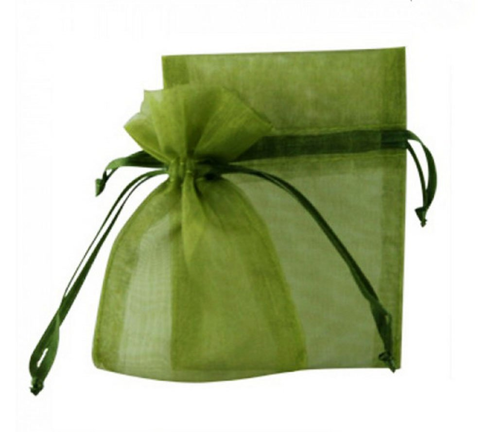 SUNGULF 100 Pcs Sheer Organza Drawstring Pouches Gift Bags 3x4 Inches - Moss Green by SUNGULF