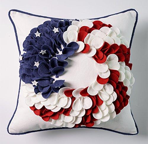 Hand Crafted 3D Applique American Flag Wreath Decorative Thr