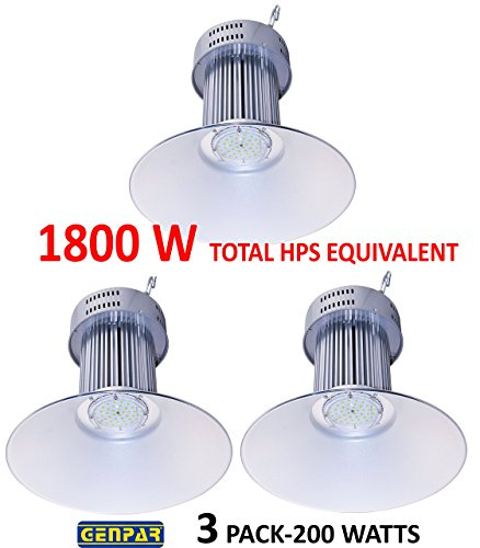 GENPAR 200W HIGH BAY LED Light COMMERCIAL Warehouse Hanging Industrial Grade Shop Area Workshop Garage Lights Fixtures Lamp W/Reflector 600W HPS HID EQUIVALENT Bright White 5500K 20000lm IP44 (3 PK)