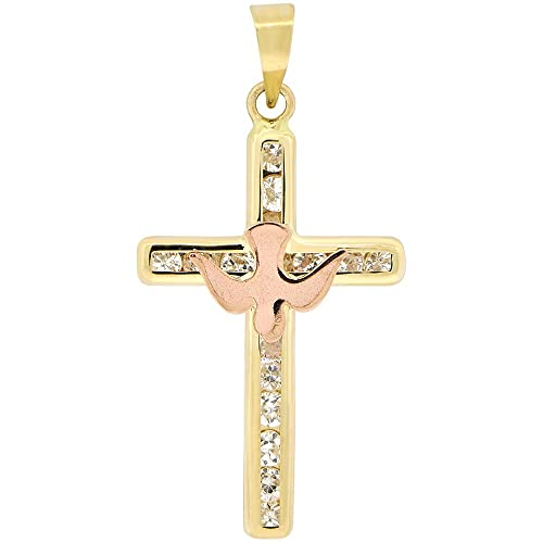 14k Yellow Rose Gold, Holy Spirit Dove Cross Pendant Religious Charm Created CZ Crystals