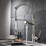 Fapully Kitchen Faucet Contemporary Spring Design Single Handle Copper with Pull Down &Out Sprayer In Brushed Nickel
