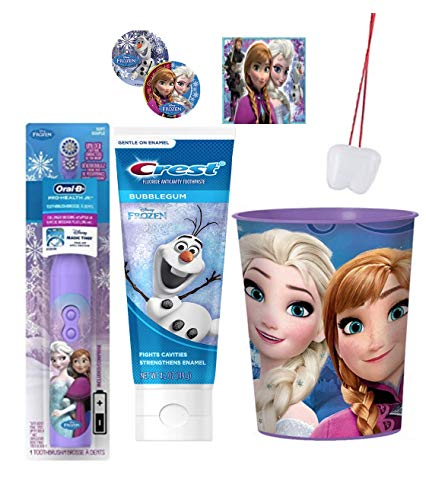 Disney Frozen 3pc Bright Smile Oral Hygiene Bundle! Includes Frozen Turbo Powered Toothbrush, Toothpaste & Mouthwash Rinse Cup! Plus Bonus
