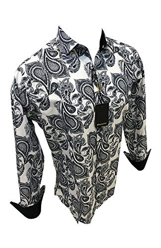 - Flash Apparel Premiere Men's Long Sleeve Shirt Fashion Designer Print Dress Shirt (White and Black, 2XL)