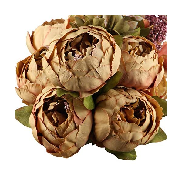 LeagelFake Flowers Vintage Artificial Peony Silk Flowers Bouquet Wedding Home Decoration, Pack of 1 (Coffee)