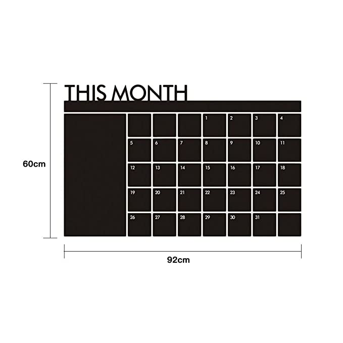 Amazon.com: Ocamo 60x92cm Blackboard Calendar Wall Sticker£¬Large Date Boxes, Reusable PET Film, Never Folded,Monthly Planner for Home Office Classroom£¬: ...