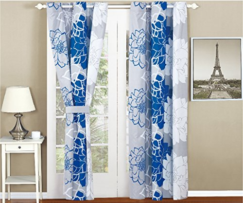 All American Collection New 4 Piece Printed Curtain Set for Reversible Bedspread Set with Dust Ruffle (Piece 4 Full Panel)