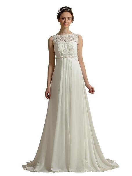 Womens Vintage Empire corpiño, diseño de boda vestidos a-Line para vestidos de novia