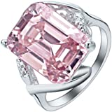 Fashion Rose Quartz Ring Plated 925 Old Silver 5 Size 6-10 NF Jewelry (6)