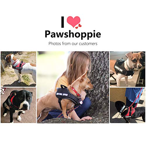 pawshoppie Real Reflective Service Dog Vest Harness Including 2 Free Removable Service Dog and 2 Emotional Support Patches, Comfortable Padded Dog Training Vest with Handle, Red/Black/Pink/Camo