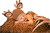 Pinbo® Baby Photography Prop Crochet Knitted Deer Beanie Hat Diaper Costume