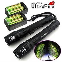 2 Sets 10000 Lumens 5 Modes CREE XML T6 LED Flashlight 18650 Battery+Charger USA