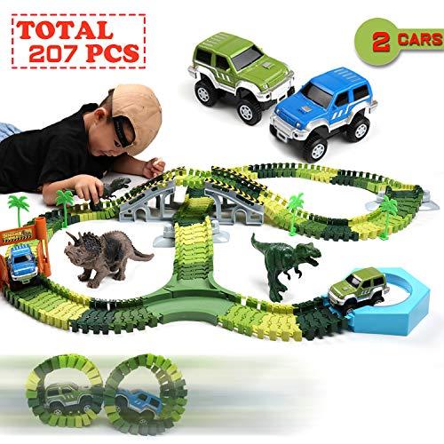 Klobroz Dinosaur Toys- 207 PCS Dinosaur Track Race Car Set-192 PCS Flexible Tracks Playset & 2 Battery Powered Cars, 2 Dinosaurs Best Gifts for Toddler Boys Girls Kids