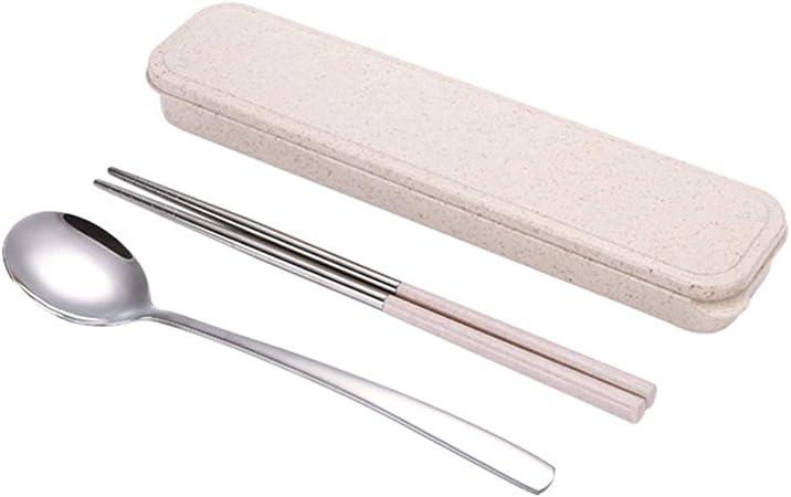LIOOBO Utensilios de viaje de 3 piezas, palillos de cuchara de cubiertos reutilizables con estuche -s: Amazon.es: Hogar