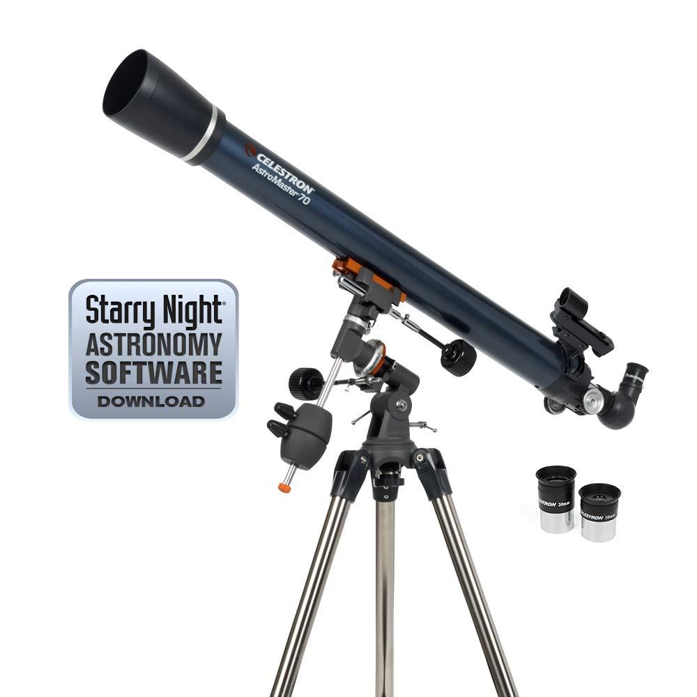 Celestron - AstroMaster 70EQ Refractor Telescope - Refractor Telescope for Beginners - Fully-Coated Glass Optics - Adjustable-Height Tripod - BONUS Astronomy Software Package by Celestron