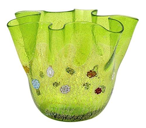 - ZECCHIN Venezia FAZZOLETTO GOCCIA Murano Glass Silver Leaf 925 Murrine Vase Decor Venice Made Italy-Green