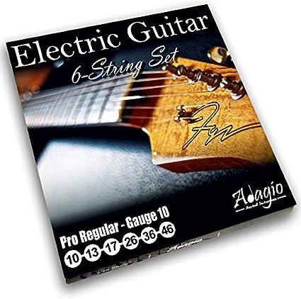 Adagio Pro - Juego de cuerdas para guitarra eléctrica (calibre 10, níquel ligero, 10 – 46 cuerdas)