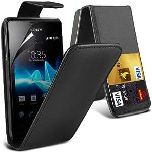 (Negro) Sony Xperia S puede diseñado tarjeta protectora de imitación de Crédito / Débito tirón del cuero de la caja de la piel de la cubierta y la pantalla del LCD Protector Por Spyrox