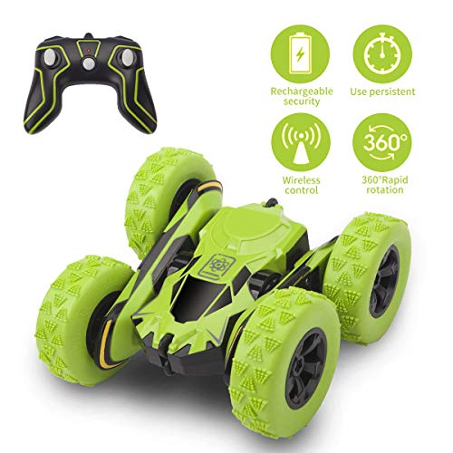 Beyondtrade Remote Control Stunt Car, 4WD RC Off Road Cars 360 Degree Double Sided Stunt Monster Truck 2.4Ghz High Speed 7.5MPH Racing Vehicle, Best Kids - 4wd Racing Off Road